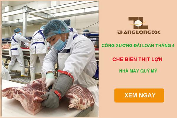 Chế biến thịt lợn nhà máy Quý Mỹ